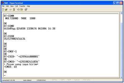 Mengirim dan menerima SMS menggunakan HyperTerminal melalui