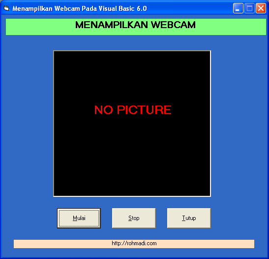 tampilan form webcam