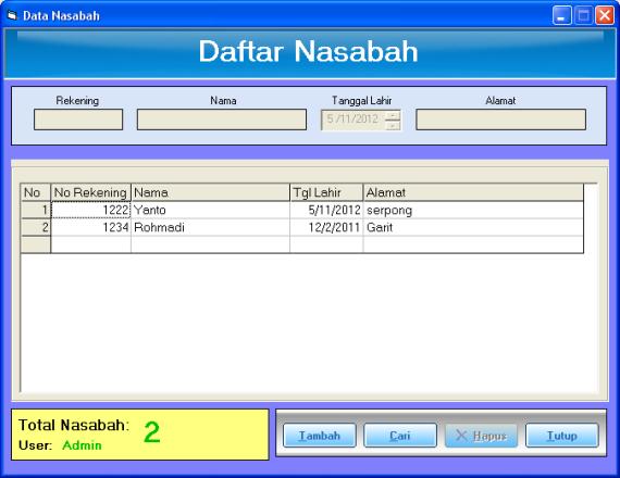form nasabah