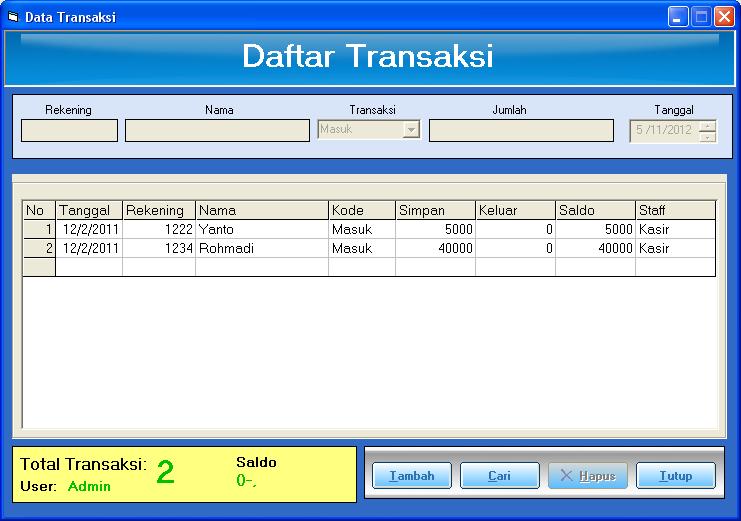 form transaksi